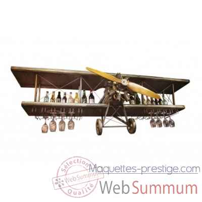 1-2 avion avec support verres Antic Line -SEB16066