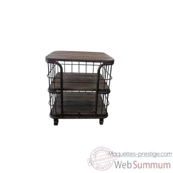 Chariot deco industriel 61 x 61 x 70 Antic Line -CD498