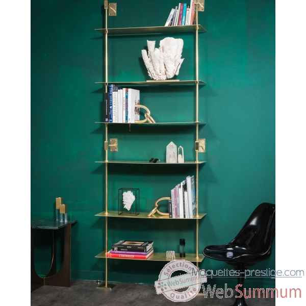 Etagere laiton brillant sections carrees gm Objet de Curiosite -MB035
